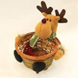 JUNMAONO 1 Stück Weihnachts Dekoration Süßigkeiten Korb Candy-Box Desktop Dekoration Kind Weihnachtsschmuck Geschenk großhandel Desktop Vereinbaren Prop Weihnachtsartikel (Elch, 19 * 19CM)