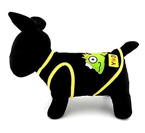 ranphy bestickt Eidechse Patch klein Hund Buchstabe T-Shirt Jungen Mädchen Puppy T-Shirts Hunde Katze Tank Top Vest Ärmellos Shirt Sommer (Einfache Katzen-kostüm Für Arbeit)