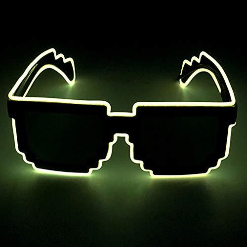 axaya Mosaik-EL-Draht-LED-Leuchtmittel, Partybrille, DJ, helles Licht, Mehrfarbig, blinkend, für Halloween, Weihnachten, Geburtstag, Party 80er Jahre, gelb, Voice Control (Mann Im Käfig Kostüm)