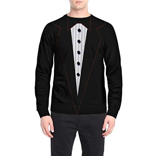 garderobe goa VECDY Herren Pullover, Mode 3D Anzug T-Shirt Party Tops Männer 3D Anzug Muster Schmetterling Druck Langarm Oansatz Sweatshirt Bluse Fashion T-Shirt