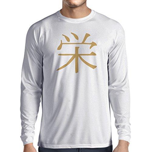 lepni.me Langarm Herren t Shirts Wohlstandlogo - Chinesisch - Japanisches Kanji-Symbol (XX-Large Weiß Gold) (Langarm-jagd-t-shirt Logo)