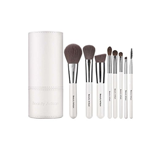 Brosse de Maquillage de Brosse de maquillage de 8 pièces avec étui de support (blanc)