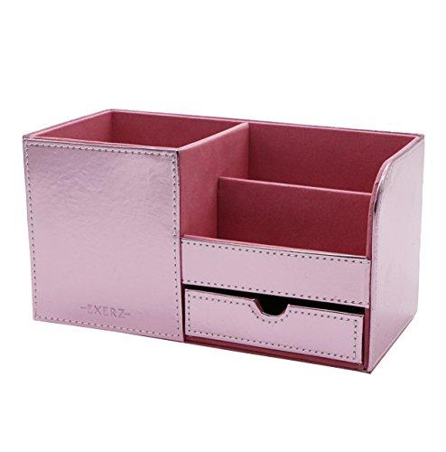 Exerz EX7078 Premium Großes Kunstleder Tisch-Organizer/ Ablagesystem / Stiftehalter / Schreibtischset / Multifunktionsorganizer - Metallisches Rosa (Arbeitsplatz-tisch)