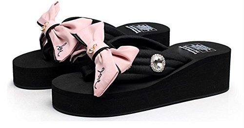 pengweiLadies Cool Slippers Sommer Verdickung unten Schmetterling Knoten Fischgr?t ziehen Mode Strand Schuhe 3