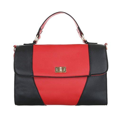 Ital-Design, Borsa a spalla donna rosso/nero