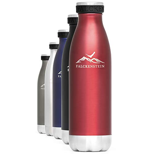 FALCKENSTEIN Edelstahl Trinkflasche Isolierflasche Wasserflasche Thermoflasche Kinder Thermosflasche Kohlensäure geeignet auslaufsicher spülmaschinenfest BPA frei Water Bottle Rot