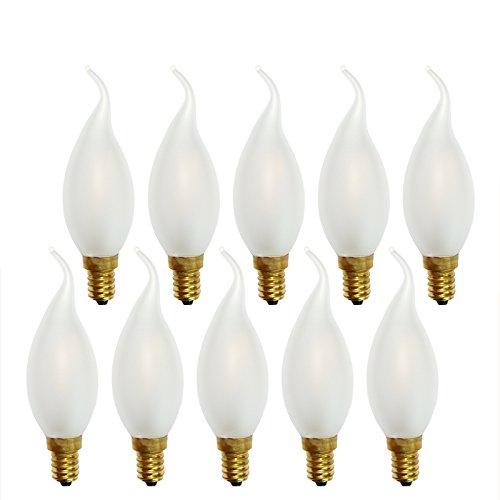 10 x LED Filament Kerze Windstoß 1W fast 15W MATT E14 Glühlampe Fadenglühbirne warmweiß 2700K Retro Nostalgie Windstoßkerzen -