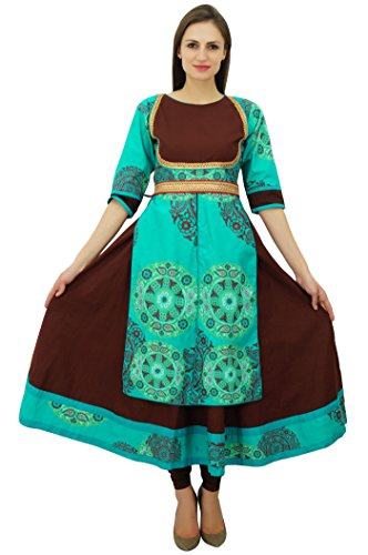Bimba marron Anarkali kurta maxi kurti vêtements ethniques manches 3/4 femmes sarcelle