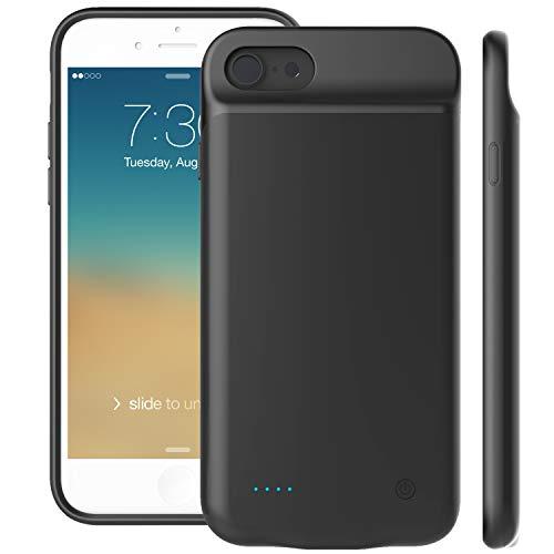 iPhone 8/7/6S/6 Akku hülle,Proker Ultradünnes Schnelles Wiederaufladen Battery Case, Lightning Audio Ausgabe Externer Akku Case(Schwarz) (6 Apple Iphone Battery Case)