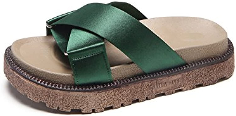 yalanshop Pantoufles de style croisé, les femmes d'été portent la mode fond épais, mince et mince, Vert, trente-six