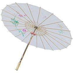MagiDeal Chinesischen Regenschirm - Asiatischen Sonnenschirm - Tanz Schirm - Tanzen Requisiten - Handgemacht - aus Stoff - Weiß