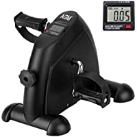 Mini Exercise Bike Pedal Exerciser Arm and Leg Cycle Exercise Bike Adjustable Resistance with LCD Display (Black)