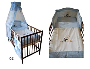 Parure de lit complet - 6 pièces en coton 100% Ours / bleu