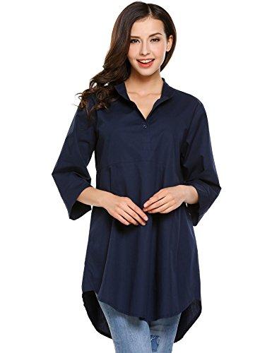HOTOUCH Damen Bluse Shirt Lange Oberteil Stretch Tunika Mit Weiten 3/4 Ärmeln A-Linie Baumwolle Navyblau L (Lange Linie Feine Ärmel)
