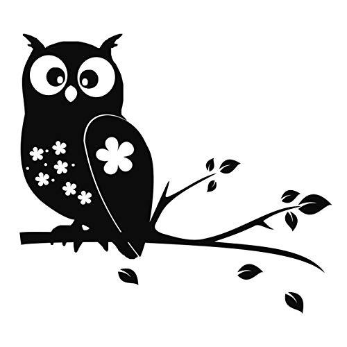 kleb-Drauf® | 1 Eule auf AST | Schwarz - glänzend | Autoaufkleber Autosticker Decal Aufkleber Sticker | Auto Car Motorrad Fahrrad Roller Bike | Deko Tuning Stickerbomb Styling Wrapping