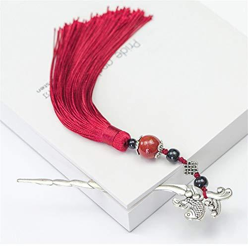 Marcador de estilo chino Marcador de borla clásico marcador de metal horquilla dos en uno Enviar regalo de amigo 15.6cm
