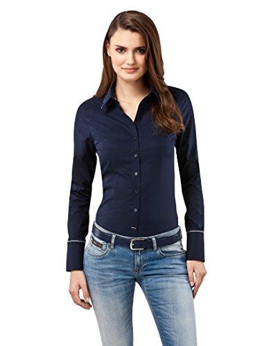 Vincenzo Boretti Damen Bluse tailliert 100% Baumwolle bügelfrei Langarm Hemdbluse elegant festlich Kent-Kragen auch für Business und unter Pullover dunkelblau 38