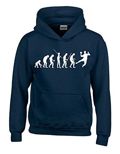HANDBALL Evolution Kinder Sweatshirt mit Kapuze HOODIE navy-weiss, Gr.152cm
