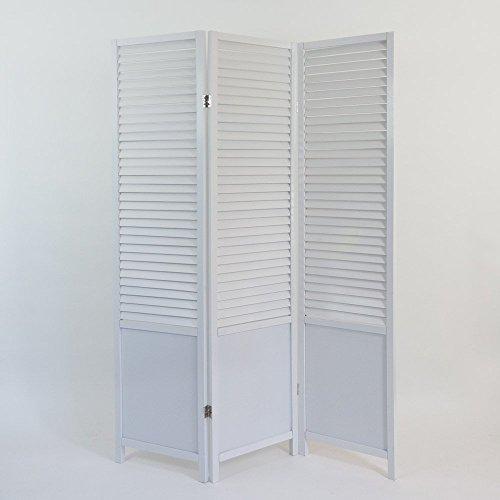 Homestyle4u 3-fach Bildschirm Raumteiler Holz Trennwand spanische Wand Sichtschutz, weiß, Single/Small
