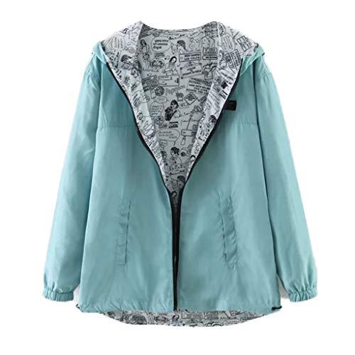 MCYs ❤ Frauen Beiläufige Normallack Druck Abnutzung beide Lange Hülsen mit Kapuze Jacke