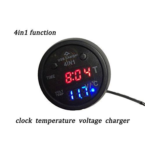 Preisvergleich Produktbild Boomboost 4in1 Auto-Ladegerät 12V 24V Zigarettenanzünder Stecker LED Digital Voltmeter Thermometer Temperatur elektrische Uhr USB Ladegerät