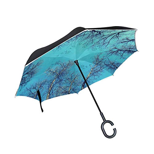 HYJDZKJY Double Layer Inverted Umbrella Autos Reverse Umbrella Bäume Himmel Winddicht UV Proof Travel Outdoor Umbrella