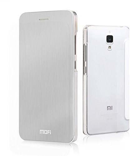 Mofi METAL BRUSH Ultra Thin Slim Luxury Hard Flip Cover Case with Transparent Back for XIAOMI Mi4 India - SILVER