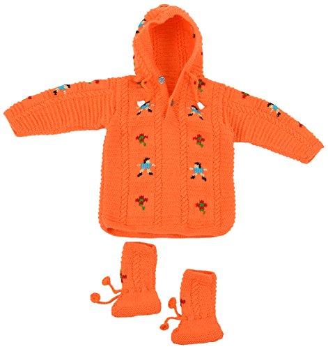 Kuchipoo Hand Knitted Sweater Set (Orange, 6 to 18 months)