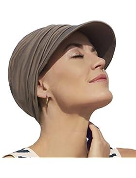 Gorra oncológica ultra transpirante Bella con visera y Technology 37.5® color marrón arenoso para mujeres en tratamiento...