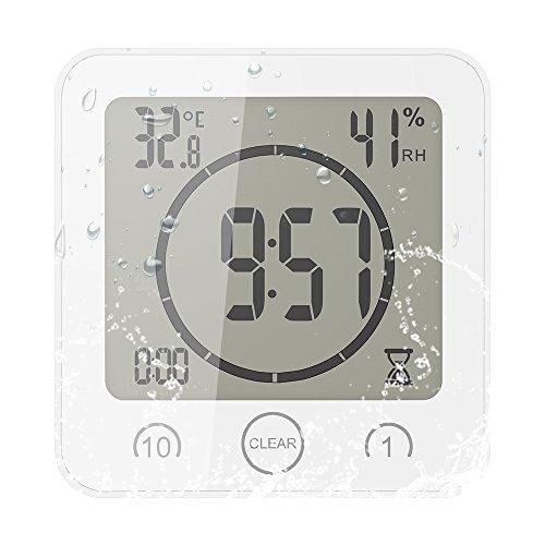 OurLeeme Tägliche wasserdichte Duschuhr, Badezimmer-Dusche-Timer-Wecker mit großer LCD-Anzeige Luftfeuchtigkeit Temperaturanzeige Timer-Steuerung Countdown-Timer-Uhr für Home Kitchen Badezimmer (weiß) - Uhr Dusche Lcd