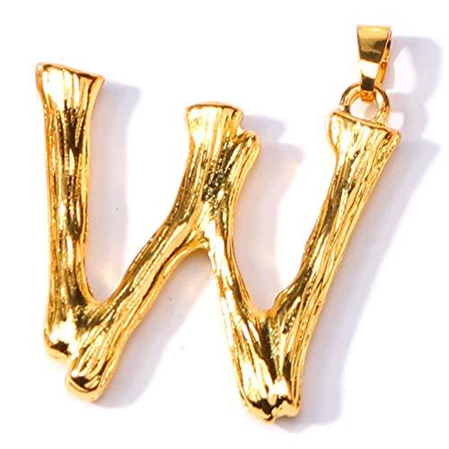ZQword A-Z Halskette Mode Personalisierte Brief Alphabet Anhänger Gold Farbe Kette Halsketten Charme Für Frauen Mädchen Schmuck,W - Alphabet Olive