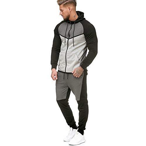 Moika abbigliamento uomo men splicing cerniera felpa top pantaloni set tuta sportiva tuta(large, grigio)