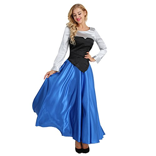 Agoky Disfraz de Princesa para Mujer Cosplay Dress Halloween Carnaval Vestido de Fiesta Disfraces Camisa de Manga Larga + Top sin Tirantes + Falda Larga Colorful Medium