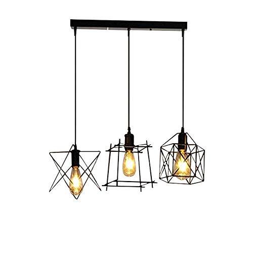 Moderne Metall-basis (Tao-Miy Deckenbeleuchtung 3 Licht Moderne Schwarze Metall Pendelleuchte Schatten Kronleuchter Beleuchtung E27 Basis für Kitchen Island, Bar Oder Esszimmer)