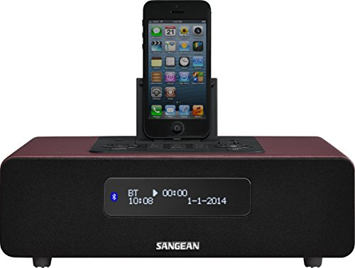 Sangean DDR-38 Digitalradio und Bluetooth Lautsprecher (mit iPhone Dockingstation, Wecker mit Dual Alarm, Powerbank, LCD Display) rot - Ipod-lautsprecher Radio Wecker