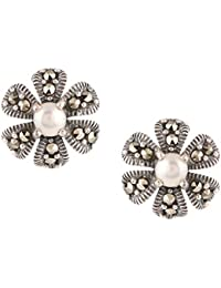 Ananth Jewels 925 Silver With Swarovski Marcasite And Pearls Stud Earrings For Women