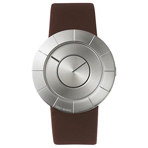Issey Miyake To plata cara oscuro marrón banda reloj silan008