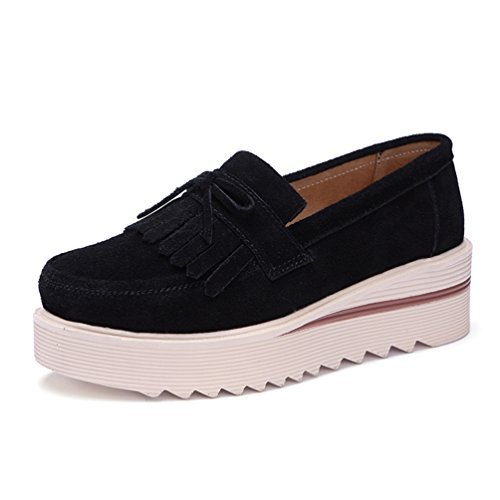 Qianliuk Frauen-Plattform Schuhe Wild Leder-Tassel Slip auf Loafers Flachen Frauen moccains gelegenheitsschuhe