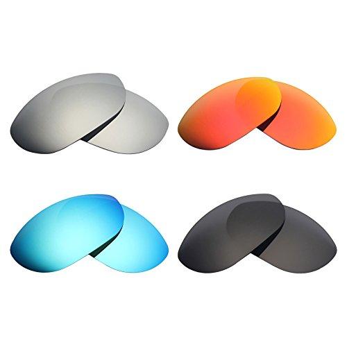 MRY Polarisierte Ersatzgläser für Oakley Monsterdog Sonnenbrillen, Stealth-Schwarz/Feuerrot/Eisblau/Silber-Titan, 4Paar
