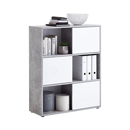 Unbekannt FMD Möbel Futura 1 Up 3-türiges Regal, Holz, Beton/Hochglanz weiß, 90 x 33 x 111 cm