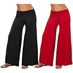 M.G.R.J Indian Ethnic Rayon Designer Plain Casual Wear Palazzo Pant For Women's ( Red , Black ) - Free Size
