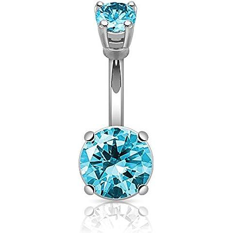 PiercedOff Piercing grande per ombelico, tondo, con cristallo colore: turchese