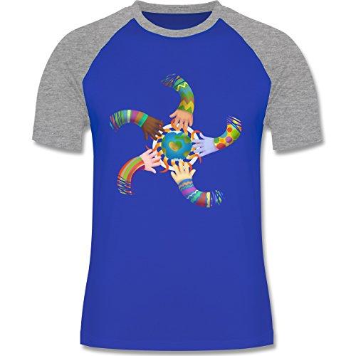 Statement Shirts - One world, one sun, hand in hand - Peace - zweifarbiges Baseballshirt für Männer Royalblau/Grau meliert
