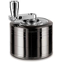 """LIHAO 2""""Molinillo Grinder de Polen de Hierbas y Especias (4 Piezas de Metal de 5 cm + Manija Rotatoria + Mini Raspador)(Níquel negro)"""