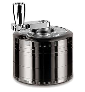 "LIHAO 2"" Grinder Moulin À Herbe avec Manivelle en 4 parties + Mini Scraper - Noir Nickel, Diamètre:5CM"