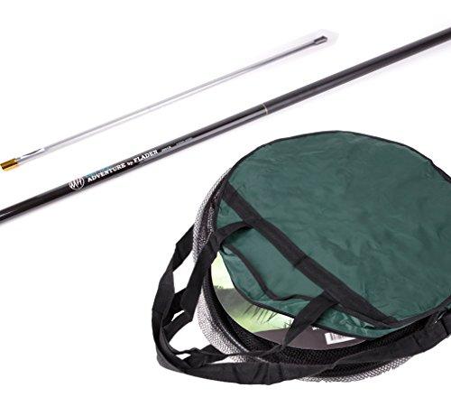Fladen Angeln–Fisch Freundlicher rund Landung und halten Net Geschenk–Set mit 2m Teleskopstange und Bank Stick–wird mit einem Double Keep Net Bag [40–040]