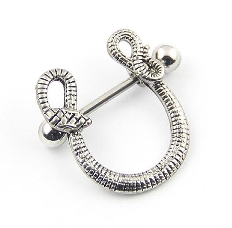 316L Surgical Steel 14G Tribal Snake Nipple Ring Bar Straight