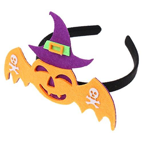 Gazechimp Halloween Fledermaus Kürbis Hexe Muster Haarband Stirnband Kopfband Feste Party Kostüm Zubehör für Kinder Erwachsene - Orange Fledermaus