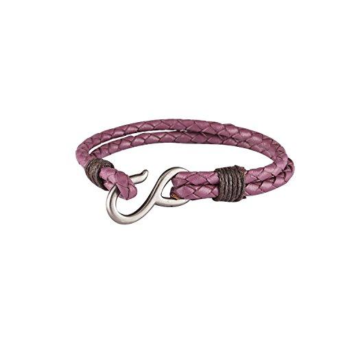 DAPPER HOMME Magenta Casual Unisex Leather Bracelets