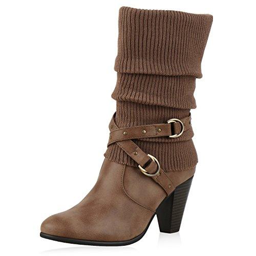 SCARPE VITA Klassische Damen Stiefel Gefütterte High Heel Boots Stulpen Nieten 165749 Khaki Gefüttert 40